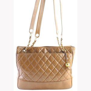 Chanel Brown Leather Quilted Chain Zip Tote